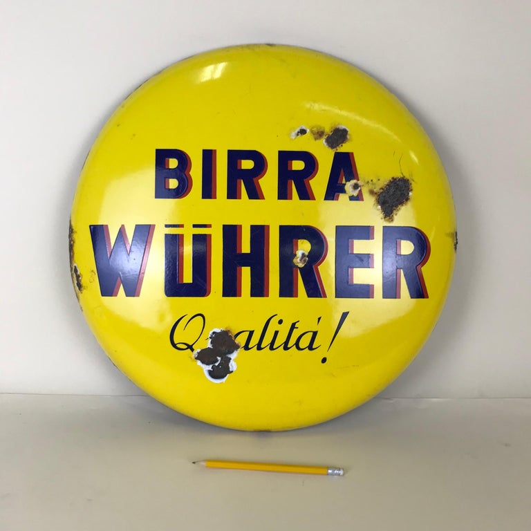 Mid-Century Modern 1960s Rare Vintage Yellow Wührer Beer Button Sign Made in Italy For Sale