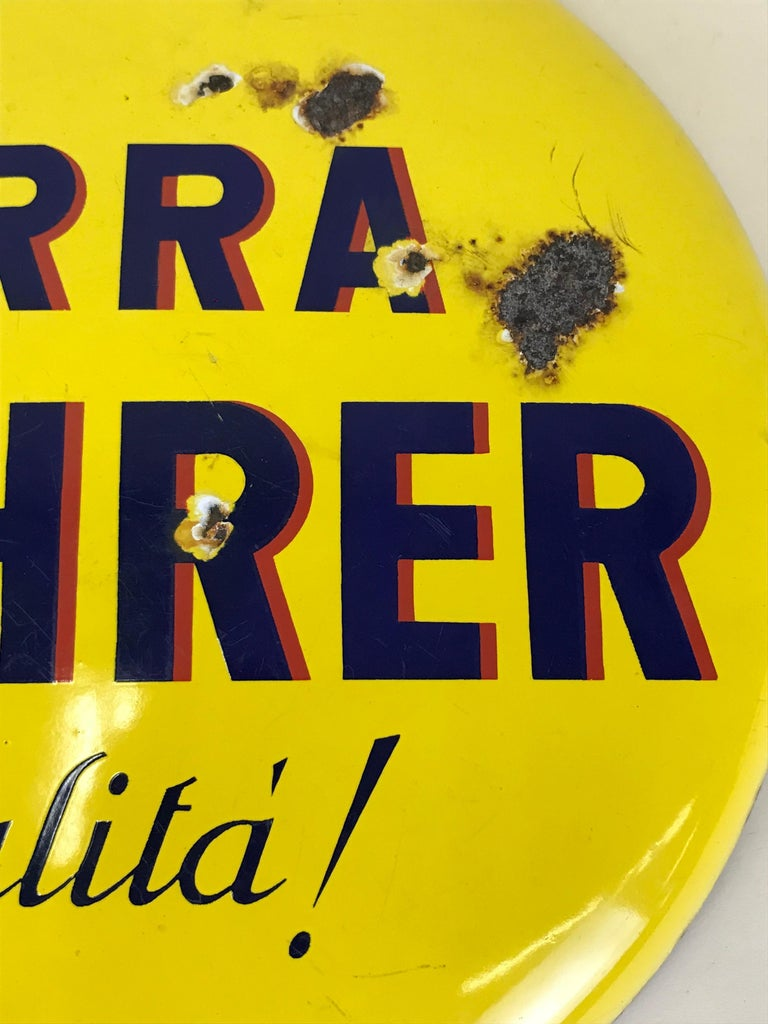 1960s Rare Vintage Yellow Wührer Beer Button Sign Made in Italy In Good Condition For Sale In Milan, IT