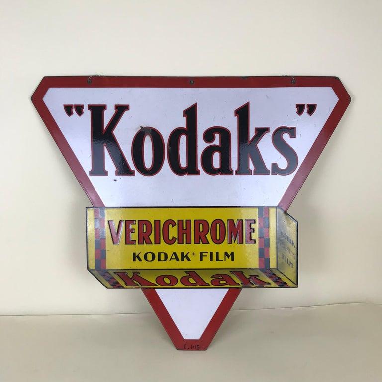 Italian 1940s Vintage Double-Sided Triangular French Metal Enamel Kodaks Sign For Sale