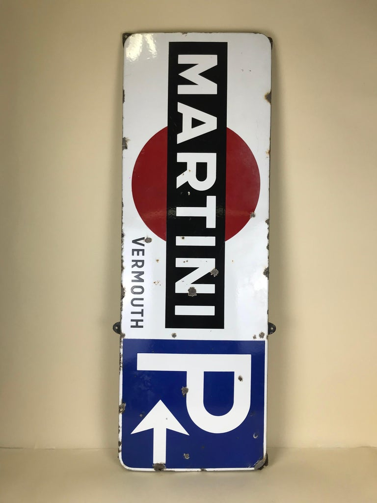 Enameled 1950s Vintage Enamel Metal Belgian Advertising Martini Sign with Parking Signal For Sale