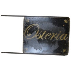 "1920s Italian Vintage Hand Painted Double Sided Blade Sign ""Osteria"" 'Restauran'"