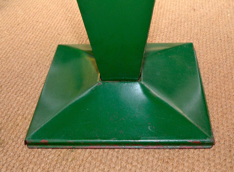 Enameled 1950s Xavier Pauchard Green Rectangular Metal Bistrot French Table by Tolix For Sale