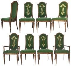 Dorothy Draper for Heritage Green Velvet Embroidered Dining Chairs
