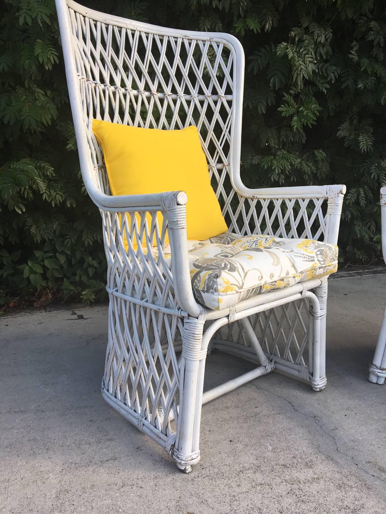 Pair Of Vintage Wicker High Back Throne Chairs For Sale At 1stdibs