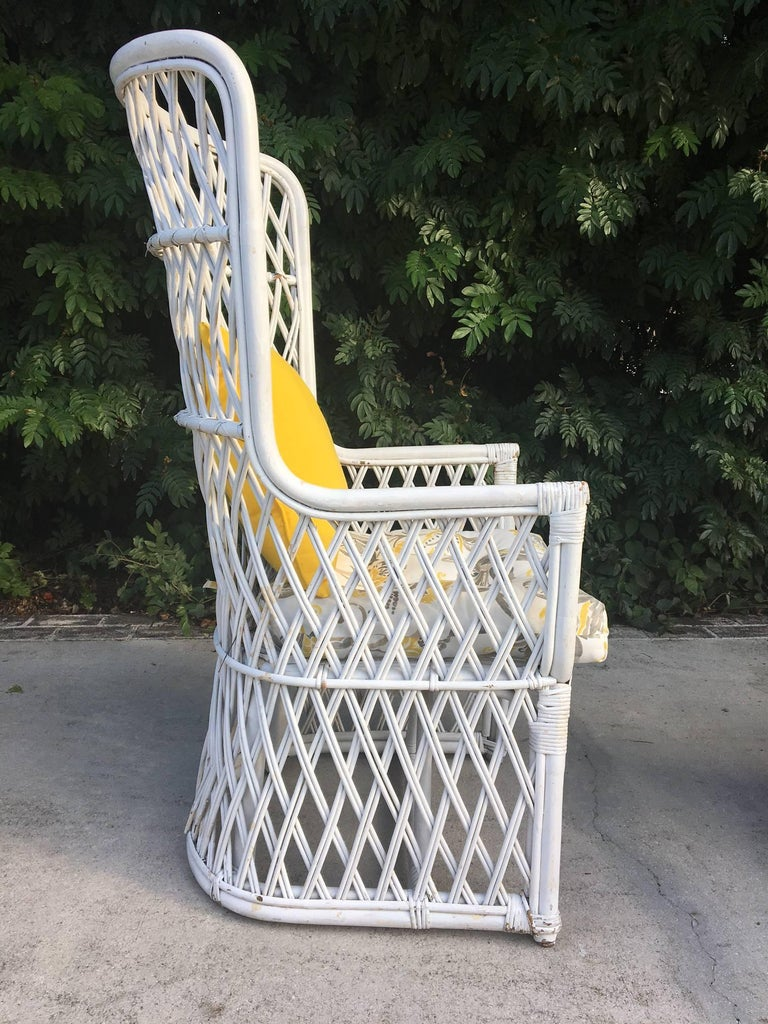Pair Of Vintage Wicker High Back Throne Chairs At 1stdibs