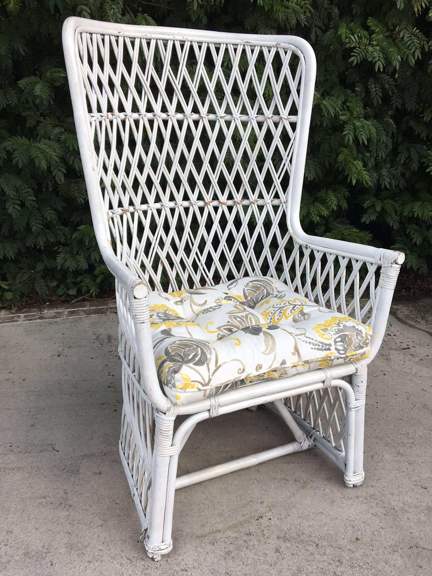 Woven Pair Of Vintage Wicker High Back Throne Chairs For Sale