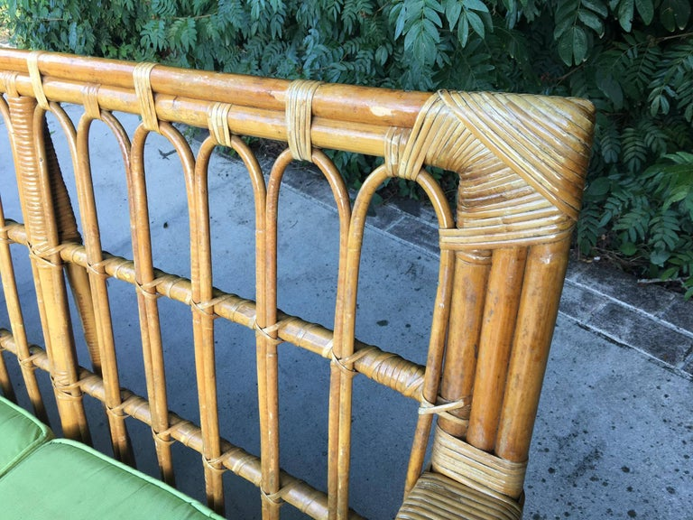 Large Organic Modern Rattan Bamboo Sofa In Excellent Condition For Sale In Jacksonville, FL