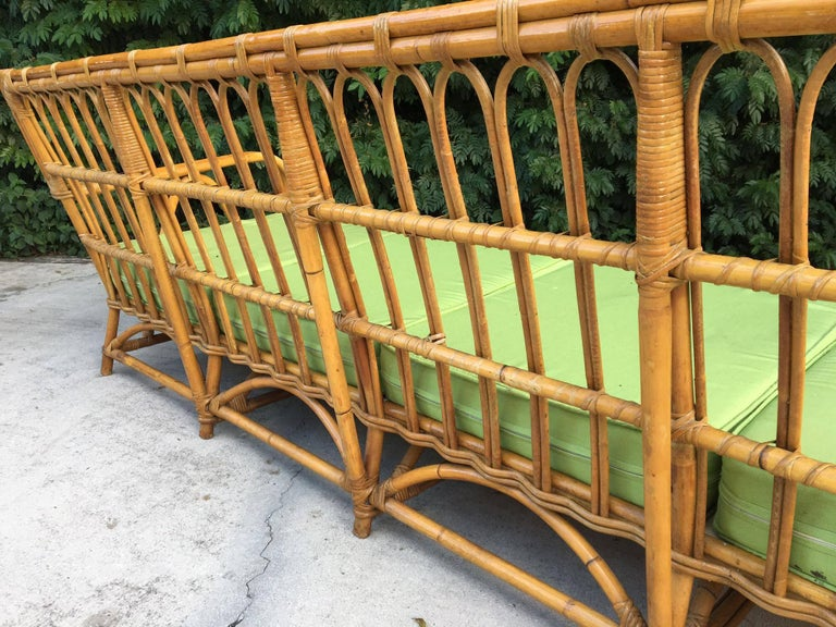 Late 20th Century Large Organic Modern Rattan Bamboo Sofa For Sale