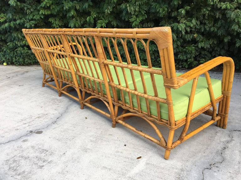 Large Organic Modern Rattan Bamboo Sofa For Sale 2