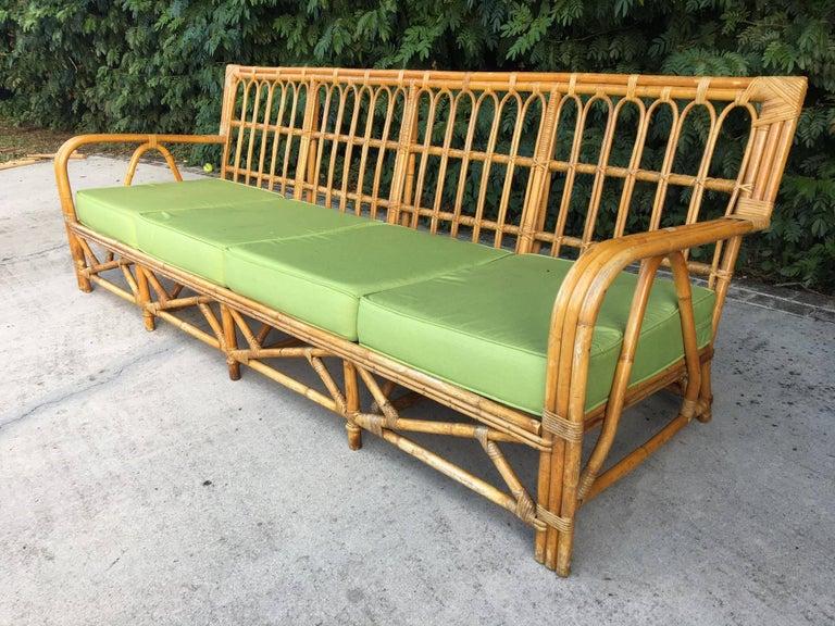 Large Organic Modern Rattan Bamboo Sofa For Sale 3