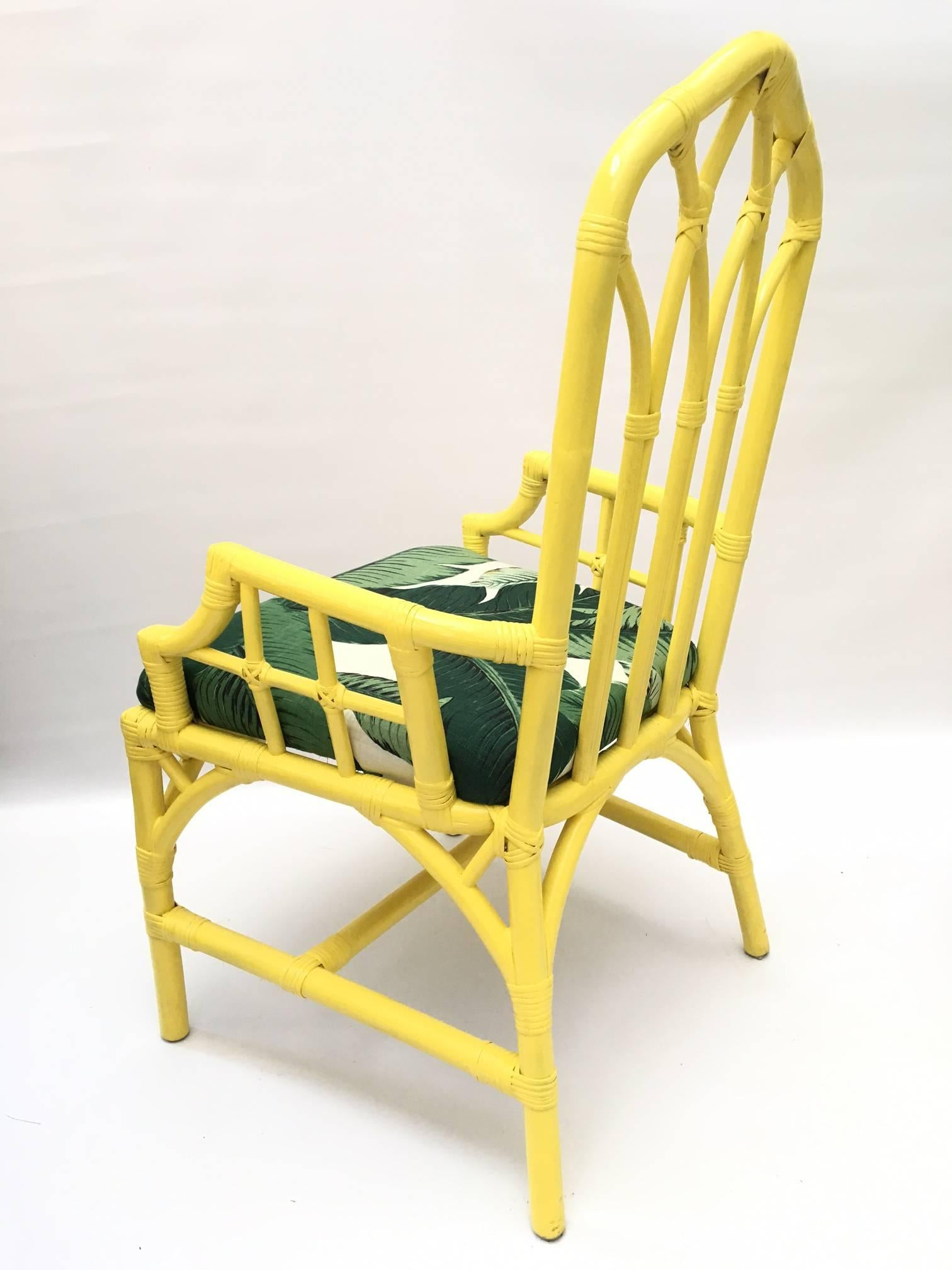 Beau Tropical Banana Leaf Print Bamboo Rattan Dining Chairs By Henry Link In  Excellent Condition For Sale