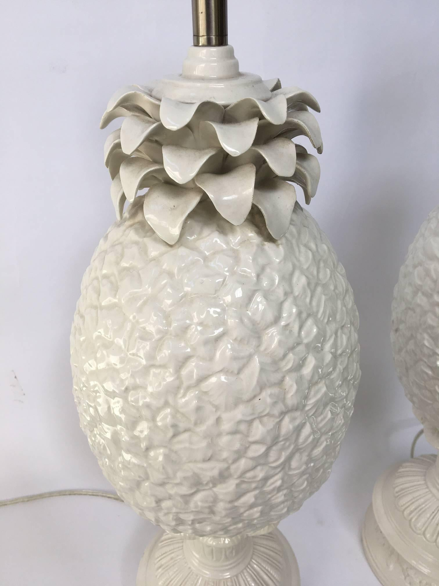 Sculptural white ceramic pineapple table lamps for sale at 1stdibs aloadofball Choice Image