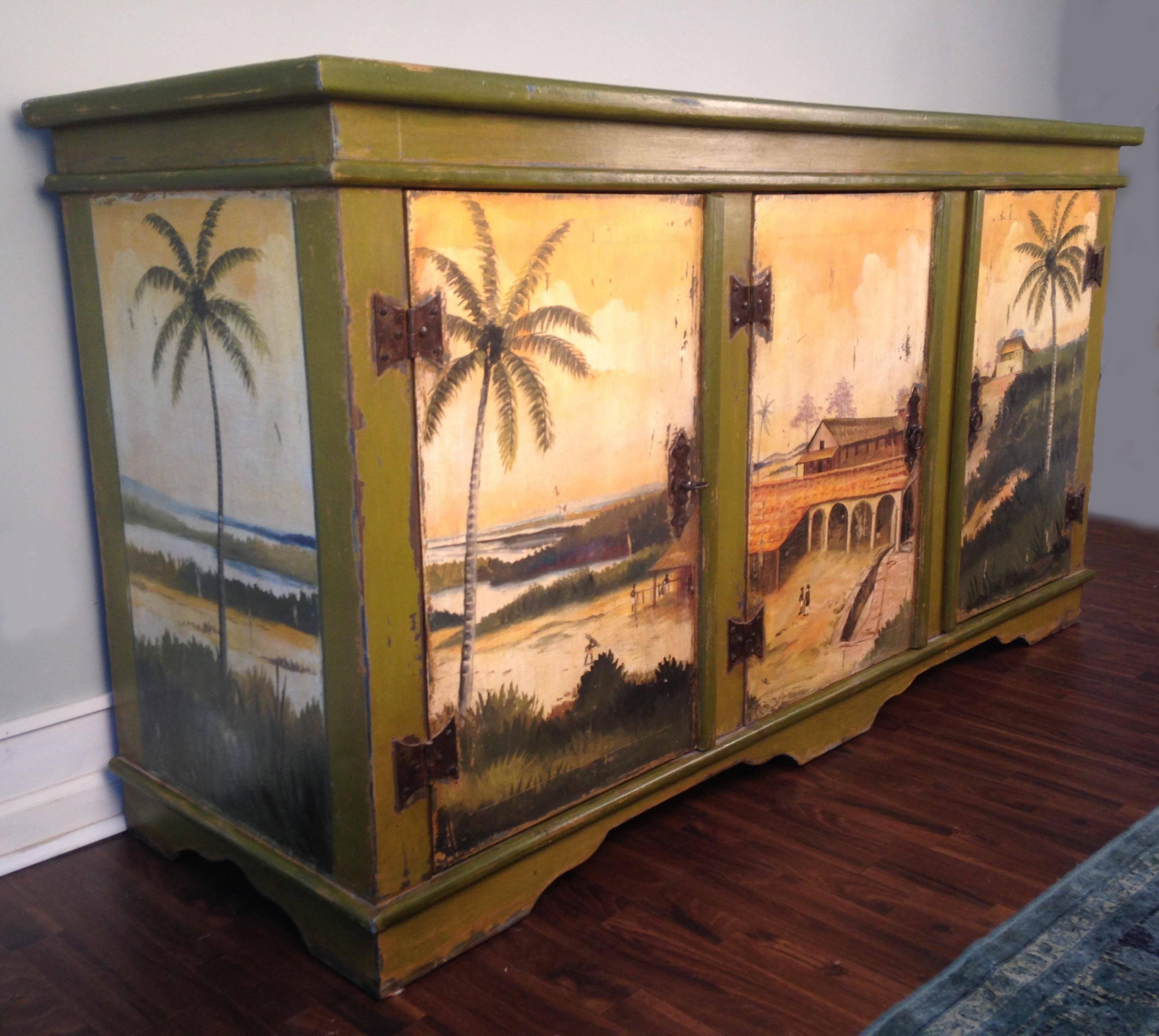 Hand Crafted Artiero Brazil Tropical Palm Tree Hand Painted Cabinet For Sale