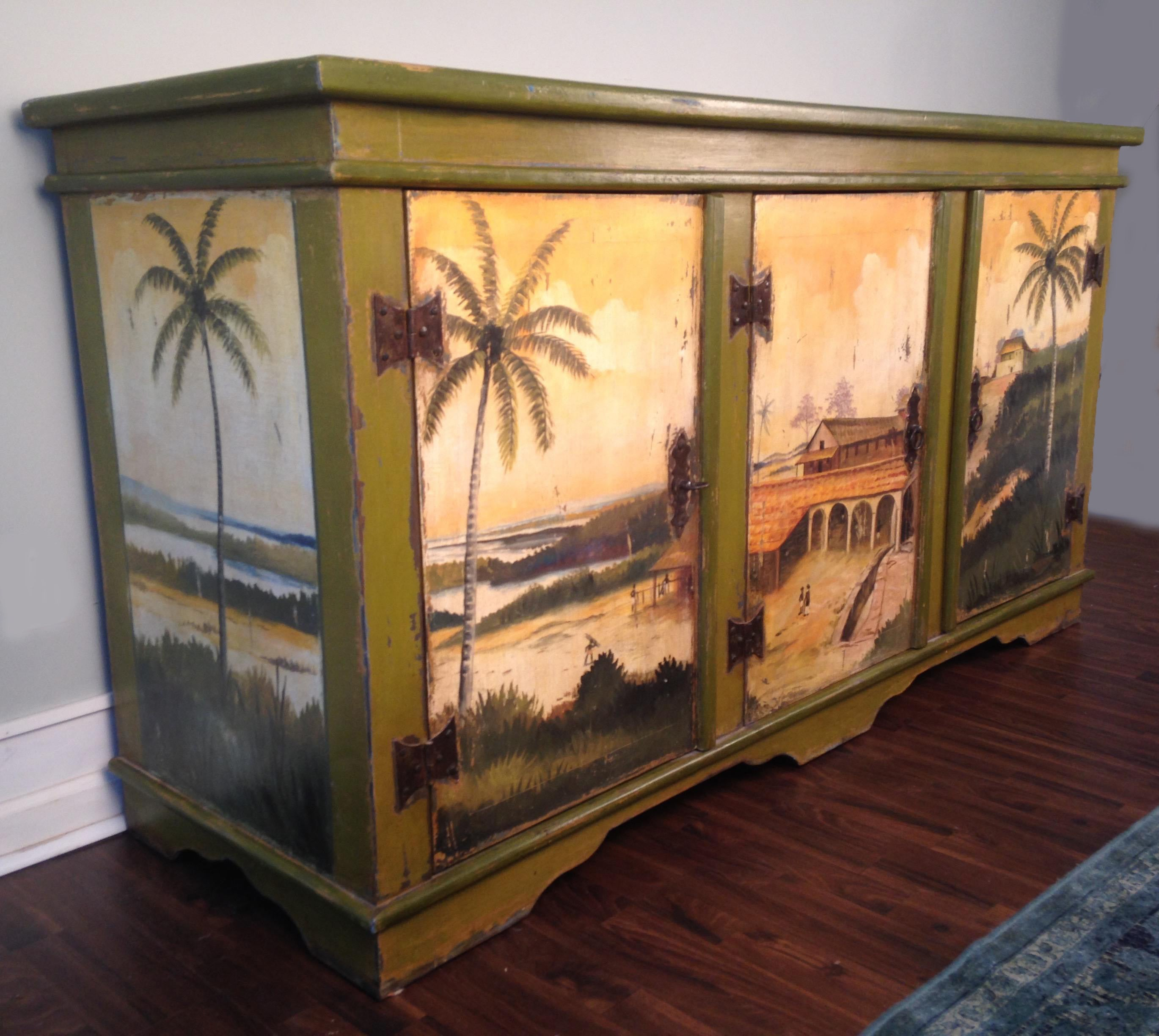 Artiero Brazil Tropical Palm Tree Hand Painted Cabinet For At 1stdibs