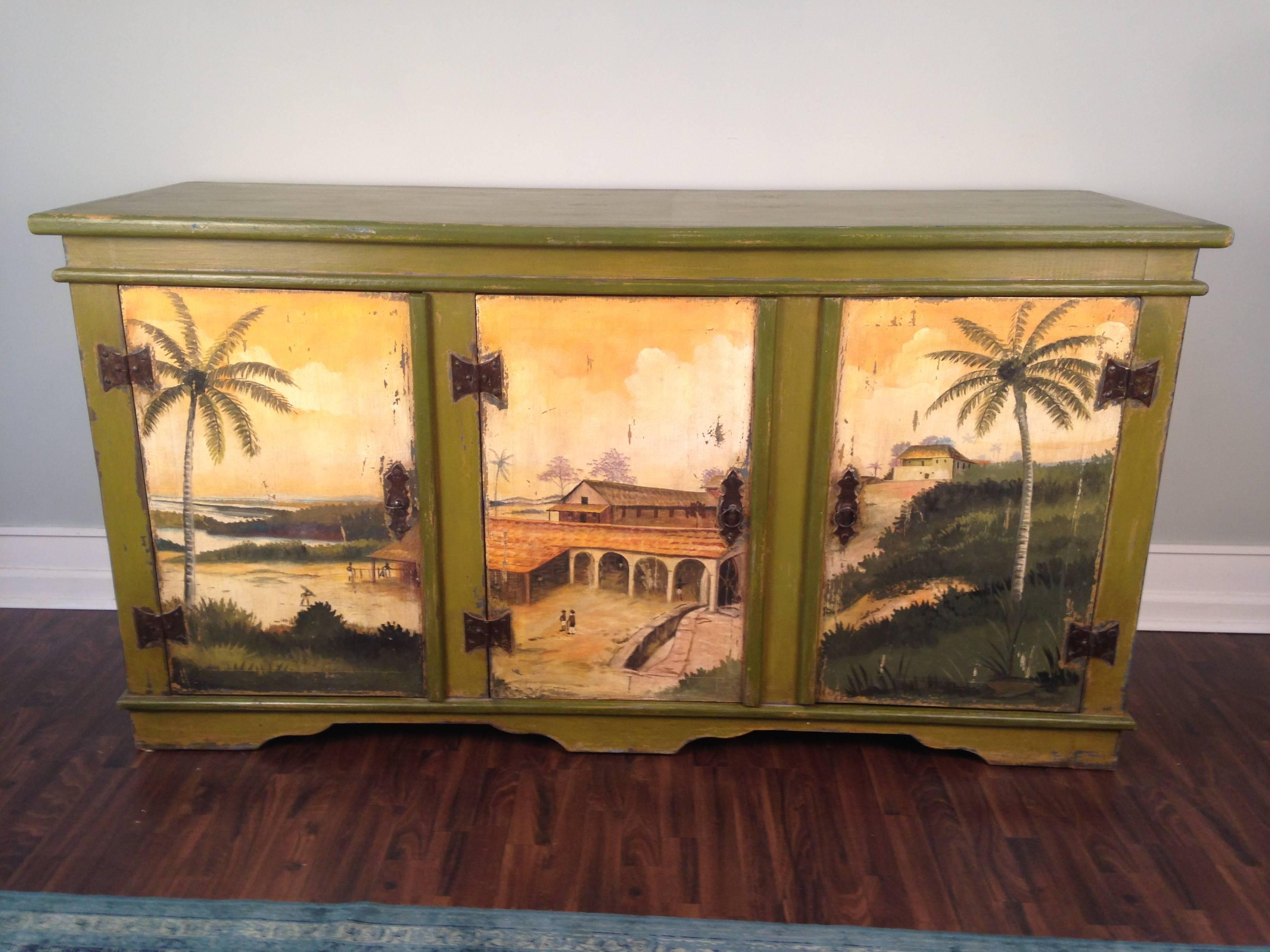 tropical painted furniture. Plain Furniture Artiero Brazil Tropical Palm Tree HandPainted Cabinet For Sale At 1stdibs With Painted Furniture E
