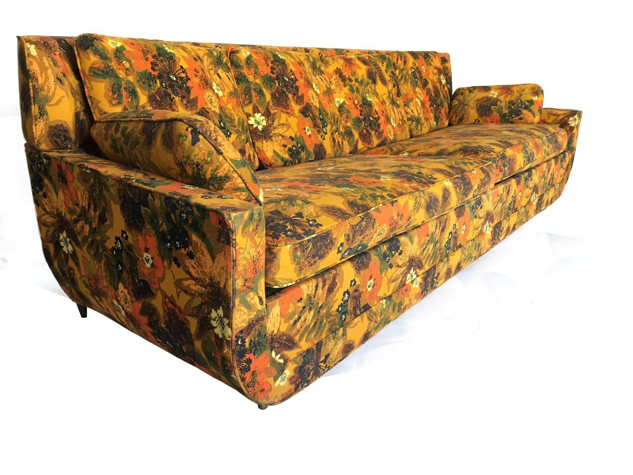 Hollywood Regency 1967 Vintage Bernard Castro Mid Century Modern Floral Sleeper  Sofa For Sale
