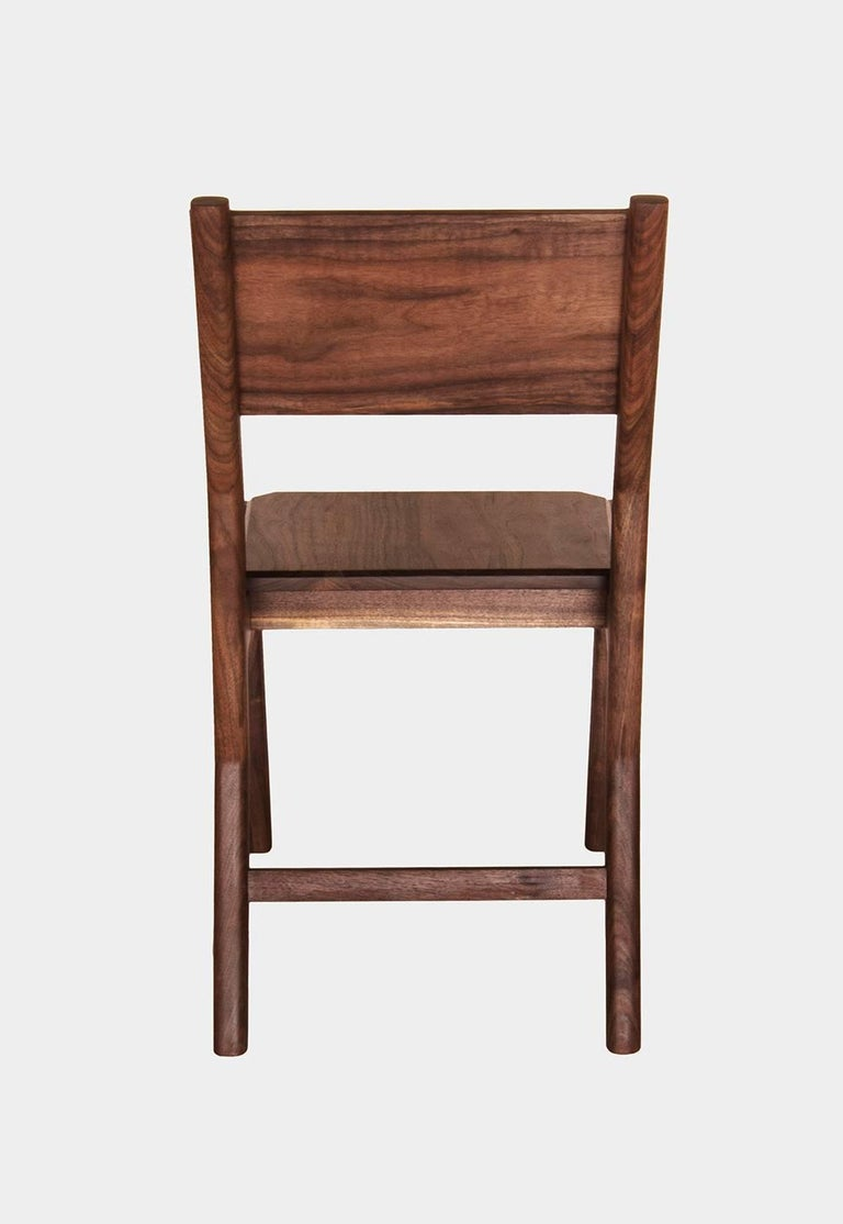 Modern Black Walnut Hewitt Wood Dining Chair by New York Heartwoods For Sale
