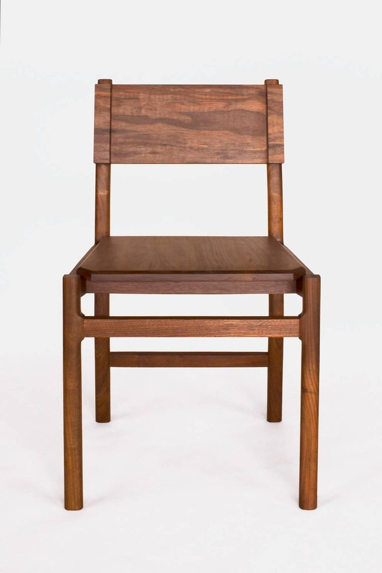 American Black Walnut Hewitt Wood Dining Chair by New York Heartwoods For Sale