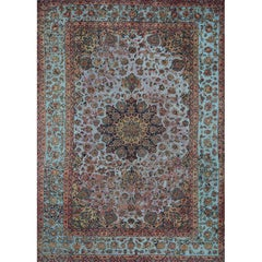 Vintage Distressed Overdyed Persian Tabriz Rug, 108862