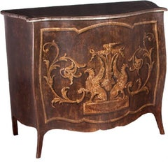 Two-Door Chest, Walnut Finish Featuring Griffons and Scrolling Vines