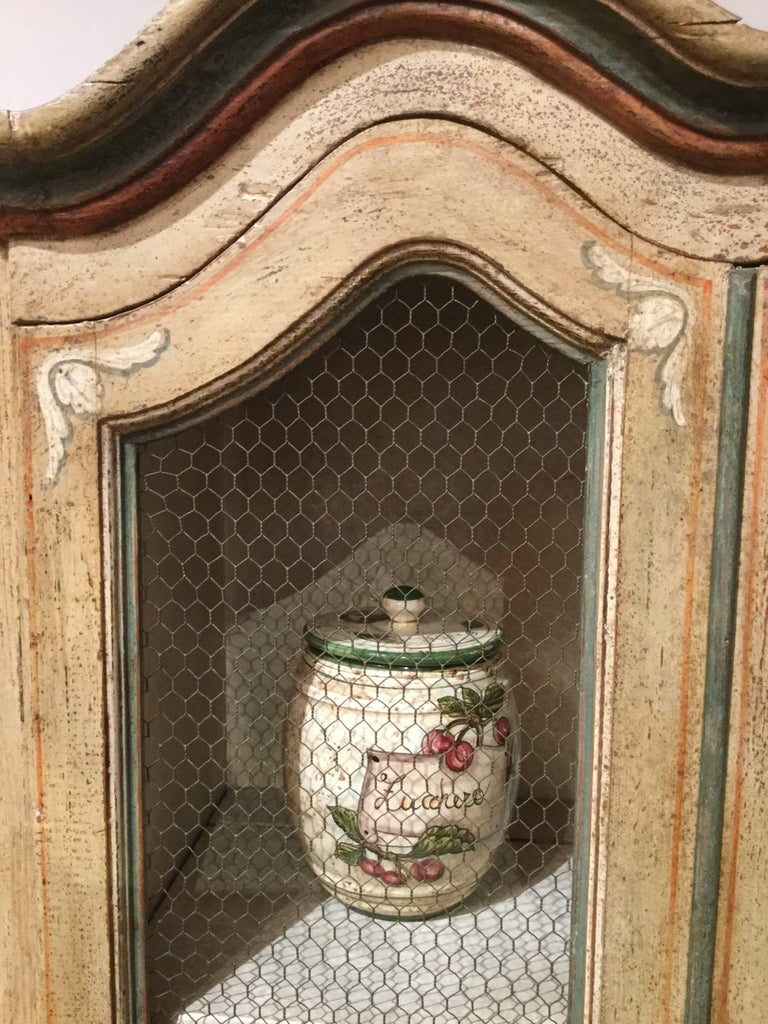 Other Hand-Painted Tall French Country Cabinet with Four Doors - FREE LOCAL DELIVERY For Sale