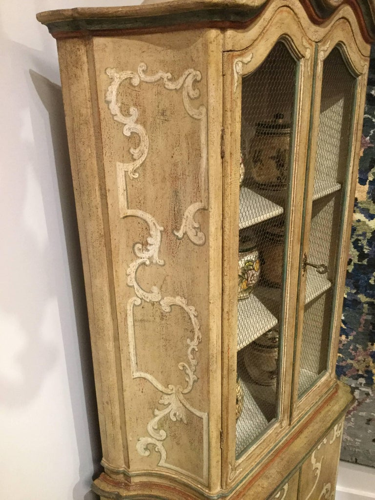 Italian Hand-Painted Tall French Country Cabinet with Four Doors - FREE LOCAL DELIVERY For Sale