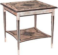 Hand-Painted Occasional Table with Inset Glass Top - FREE LOCAL DELIVERY