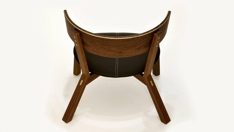 Other Armchair Toro on Tropical Brazilian Hardwood and Natural Leather For Sale
