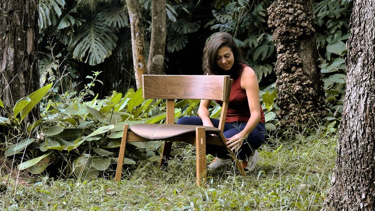 Hand-Crafted Armchair Toro on Tropical Brazilian Hardwood and Natural Leather For Sale
