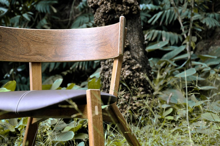 Armchair Toro on Tropical Brazilian Hardwood and Natural Leather In New Condition For Sale In Belo Horizonte, Minas Gerais
