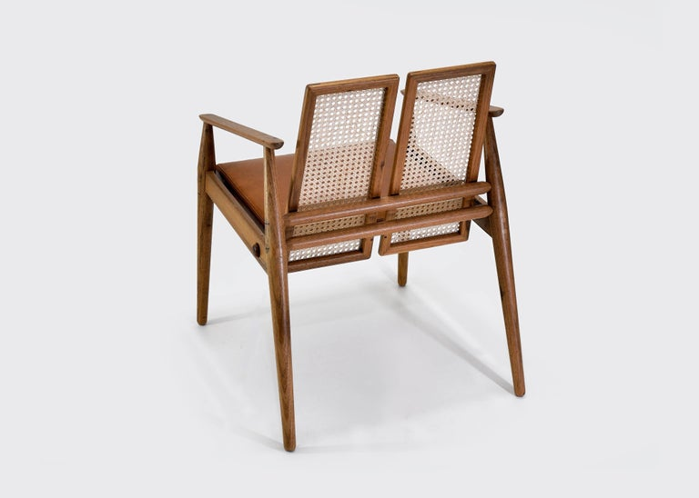 Hand-Crafted Chair Dalila on Tropical Brazilian Hardwood and Natural Leather For Sale