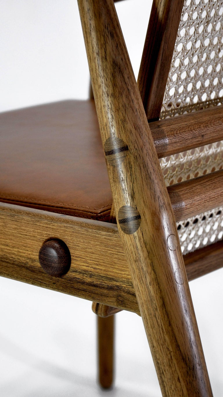 Contemporary Chair Dalila on Tropical Brazilian Hardwood and Natural Leather For Sale