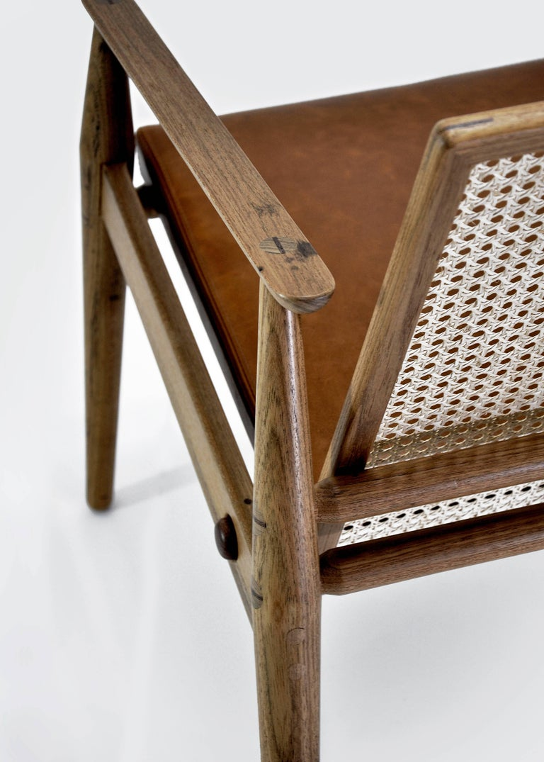 Chair Dalila on Tropical Brazilian Hardwood and Natural Leather In New Condition For Sale In Belo Horizonte, Minas Gerais