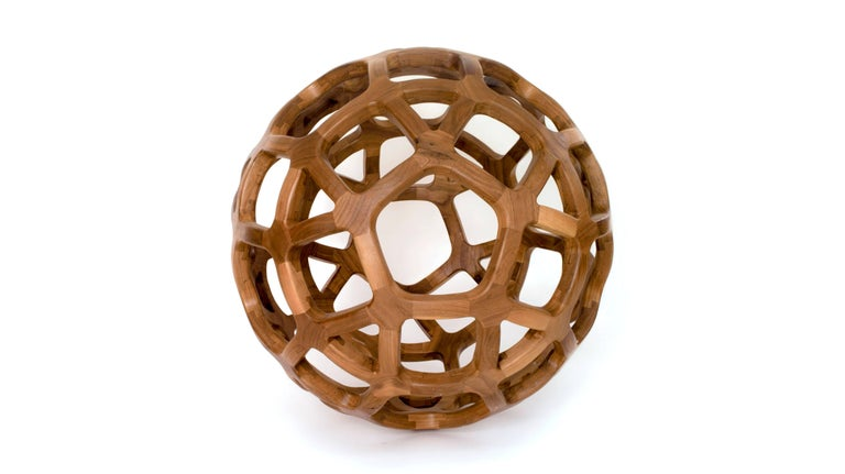 Hand-Crafted Contemporary Mexican Handcrafted Geometric Archimedean Sphere Walnut Sculpture For Sale