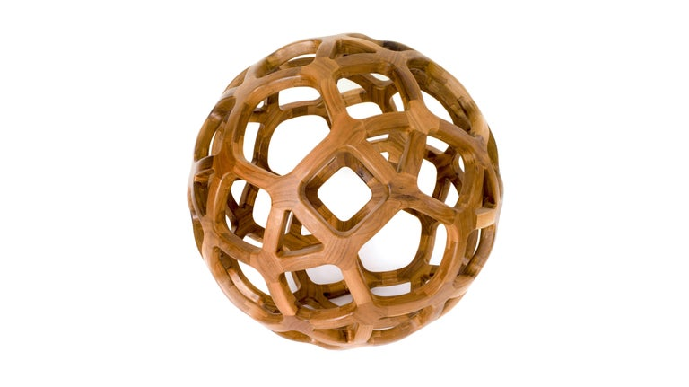 Contemporary Mexican Handcrafted Geometric Archimedean Sphere Walnut Sculpture For Sale 3