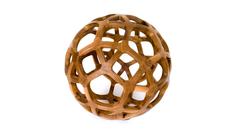 Contemporary Mexican Handcrafted Geometric Archimedean Sphere Walnut Sculpture For Sale 2