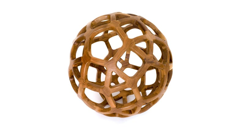 Contemporary Mexican Handcrafted Geometric Archimedean Sphere Walnut Sculpture For Sale 4
