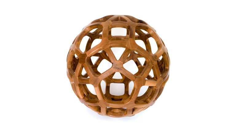 Contemporary Mexican Handcrafted Geometric Archimedean Sphere Walnut Sculpture For Sale 1