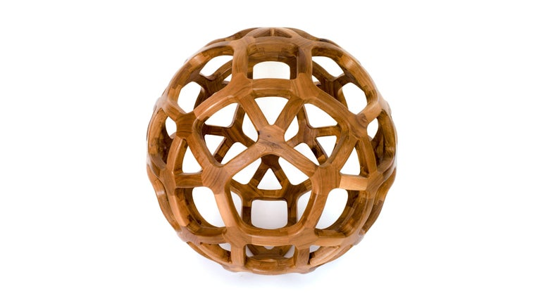 Contemporary Mexican Handcrafted Geometric Archimedean Sphere Walnut Sculpture In New Condition For Sale In Mexico City, CDMX