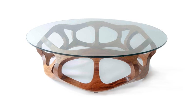 This contemporary sculptural coffee table is created by renowned Mexican Industrial designer Pedro Cerisola, whose work is in the permanent collection of the National Autonomous University Science Museum and has been exhibited in the Franz Mayer