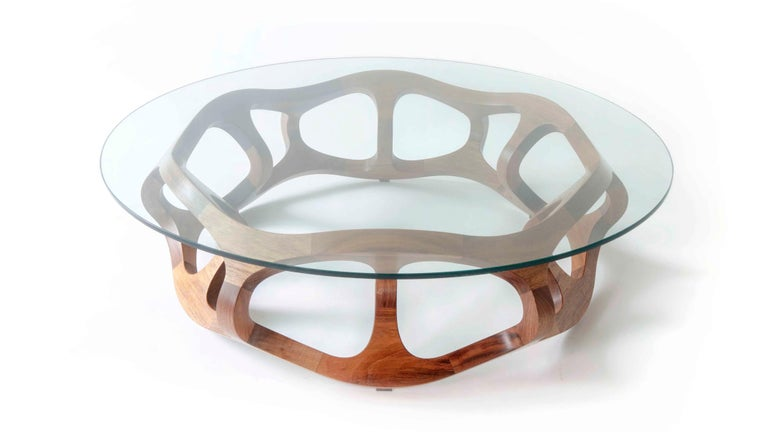 Other Contemporary Handcrafted Solid Tzalam Wood Geometric Toro G6 Coffee Table For Sale