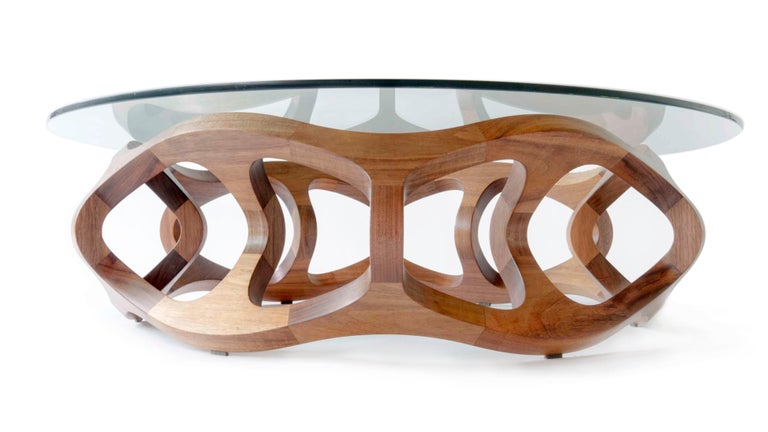 Contemporary Handcrafted Solid Tzalam Wood Geometric Toro G6 Coffee Table For Sale 4