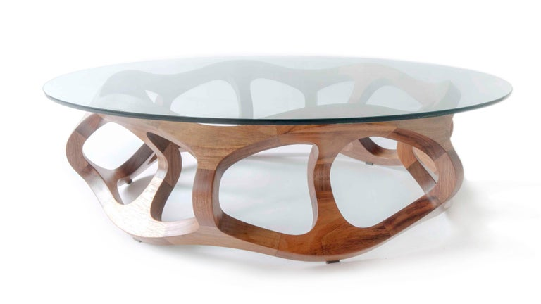 Contemporary Handcrafted Solid Tzalam Wood Geometric Toro G6 Coffee Table For Sale 5