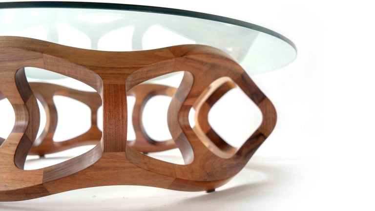 Contemporary Handcrafted Solid Tzalam Wood Geometric Toro G6 Coffee Table For Sale 8