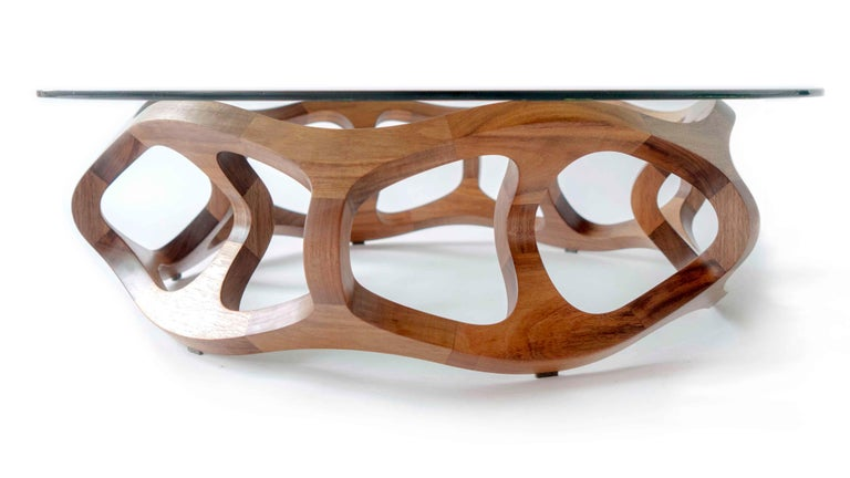 Contemporary Handcrafted Solid Tzalam Wood Geometric Toro G6 Coffee Table For Sale 9