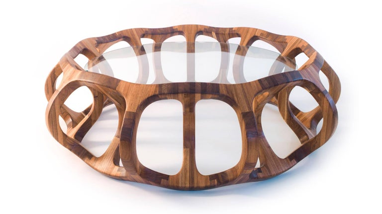 Toro Geometric Coffee Table Handcrafted in Tzalam Hardwood  In New Condition For Sale In Mexico City, CDMX