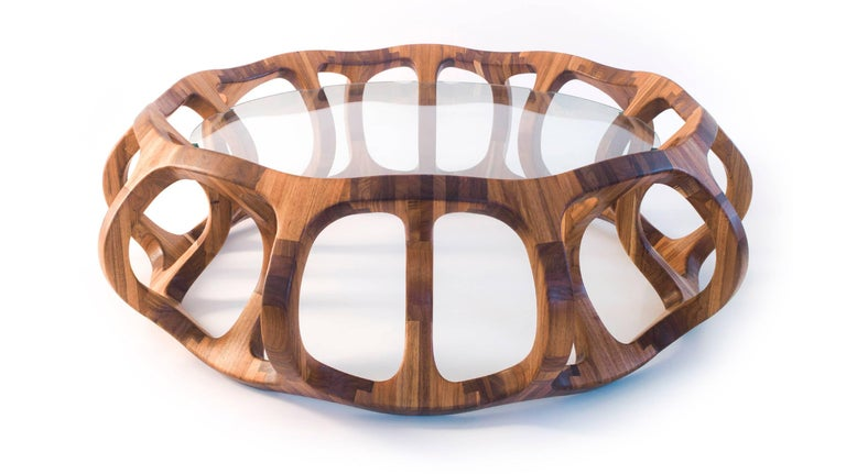 Hand-Crafted Toro Geometric Coffee Table Handcrafted in Tzalam Hardwood  For Sale