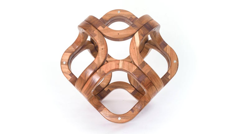 Contemporary Mexican Handcrafted Tzalam Wood Geometric Octahedron Sculpture For Sale 3