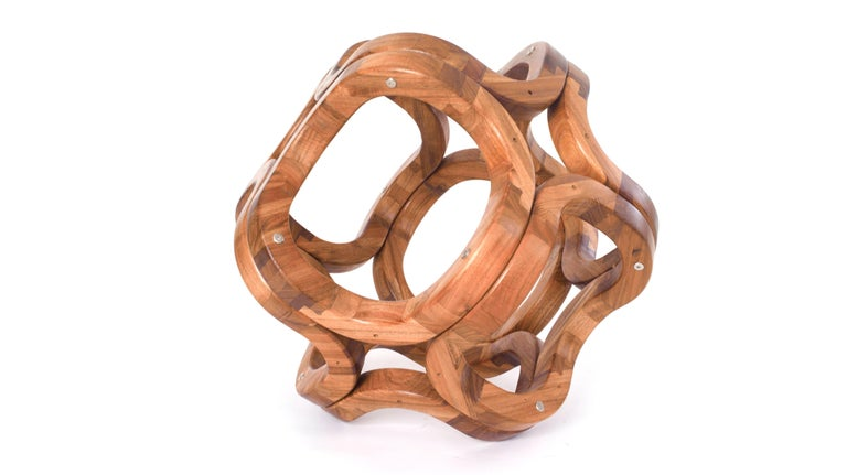 Hand-Crafted Contemporary Mexican Handcrafted Tzalam Wood Geometric Octahedron Sculpture For Sale