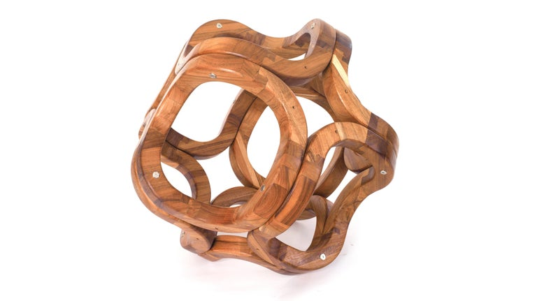 Contemporary Mexican Handcrafted Tzalam Wood Geometric Octahedron Sculpture For Sale 2